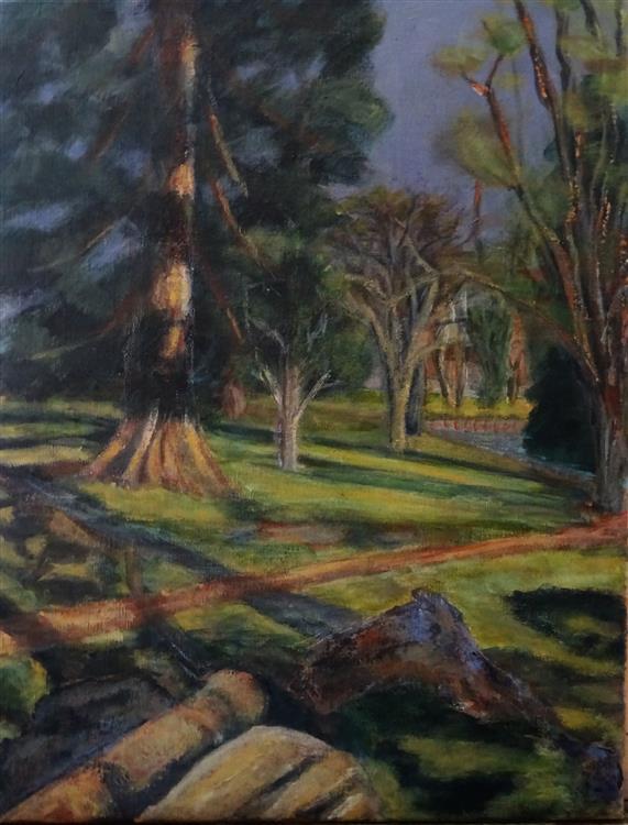 Judy's Redwood, Acrylics, 50 x 40 cms, 2020
