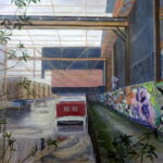 Brentford Canal:  Decay or Regenertion? Acrylics, 50 s 70 cm, 2020