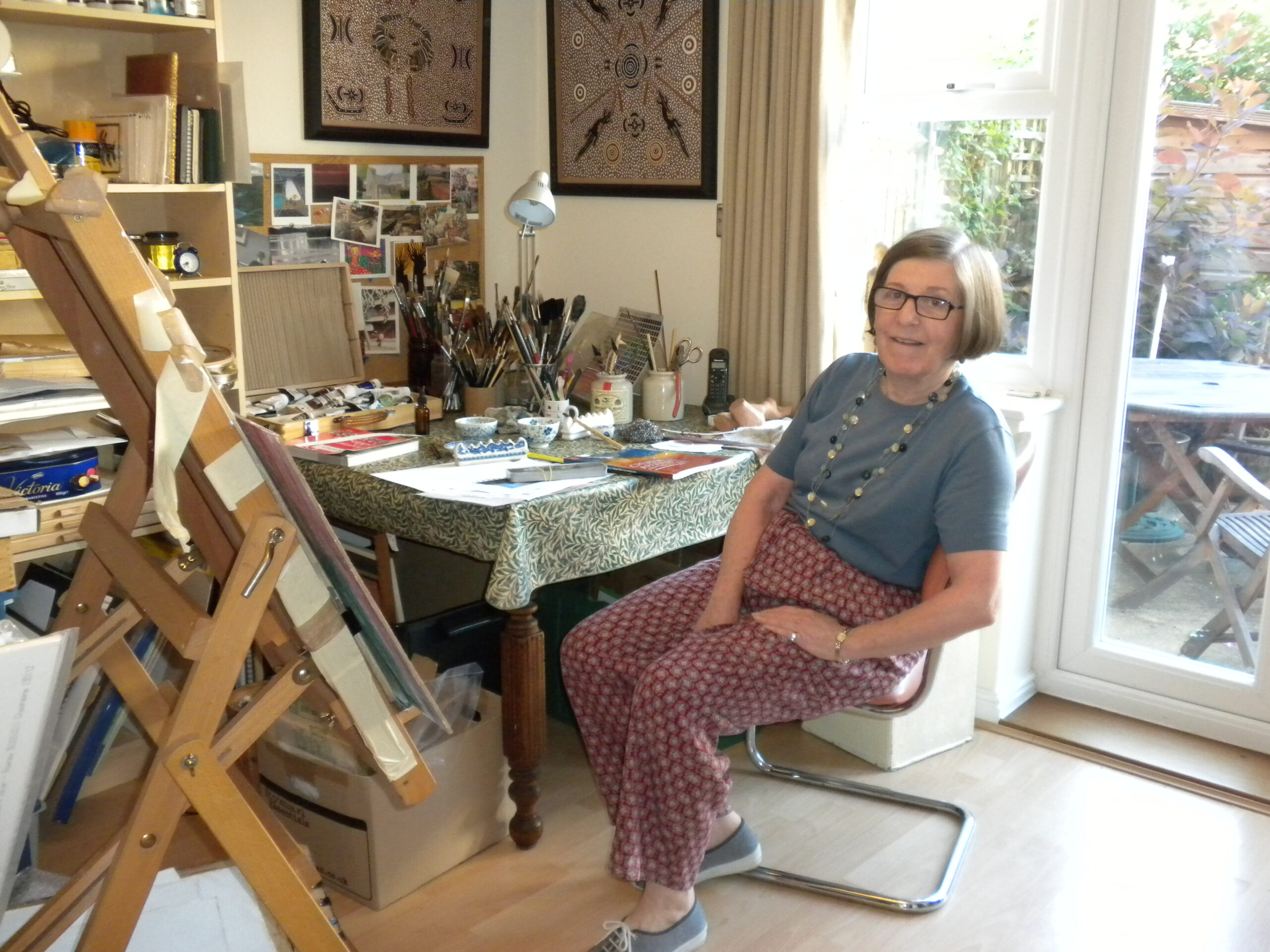 Caroline in her studio at home - in summer!